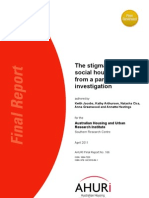 AHURI the Stigmatisation of Social Housing Findings From a Panel Investigation