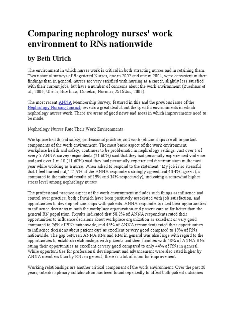 Comparing Nephrology Nurses' Work Environment to RNs Nationwide