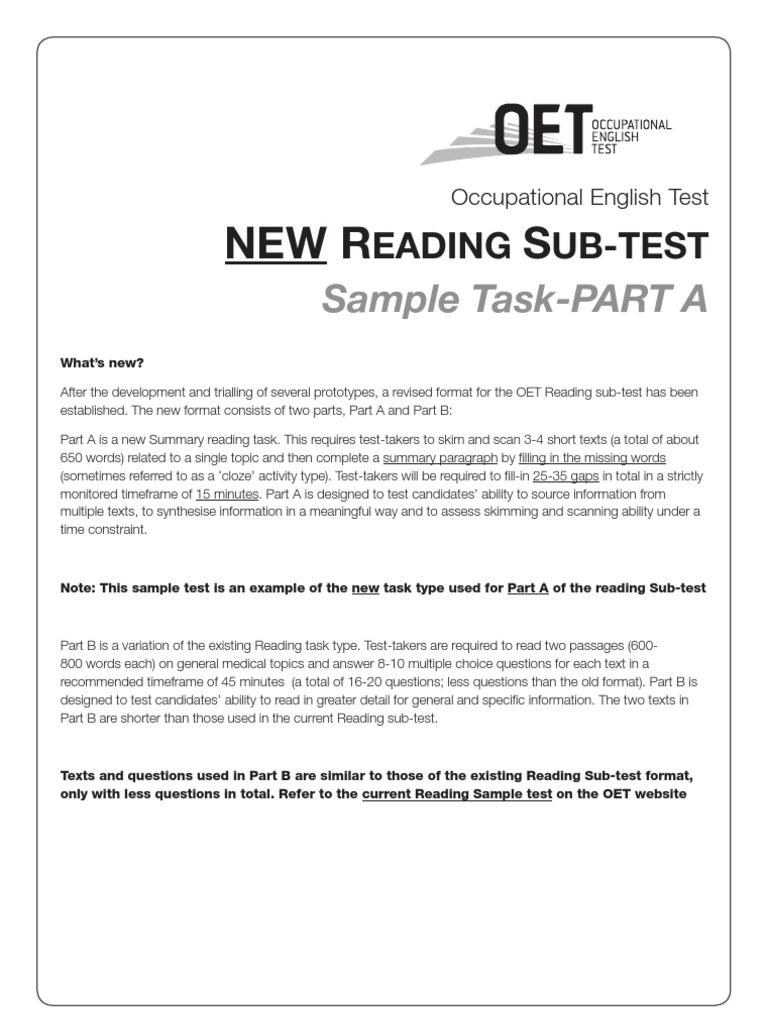 Oet sample test materials