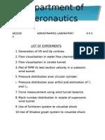 AERODYNAMICS LAB MANUAL (PCT)
