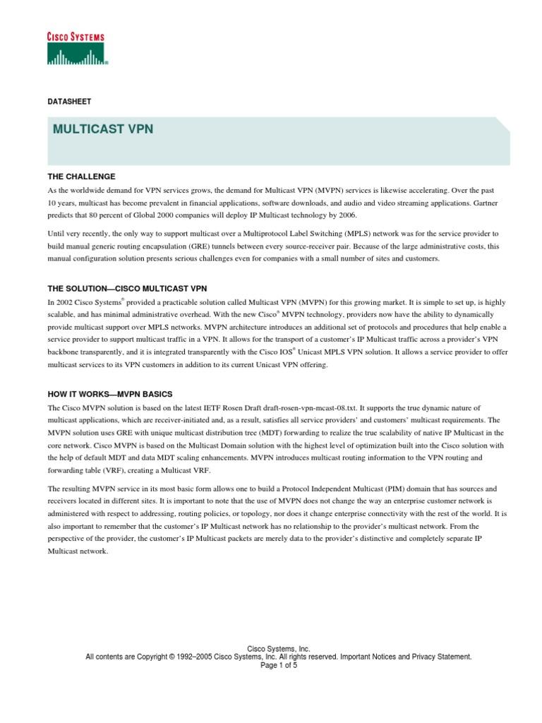 MVPN Datasheet | Virtual Private Network | Router (Computing)
