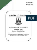 Msc biotechnology syllabus