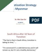 Democratization Strategy in Myanmar Presentation at UMFCCI