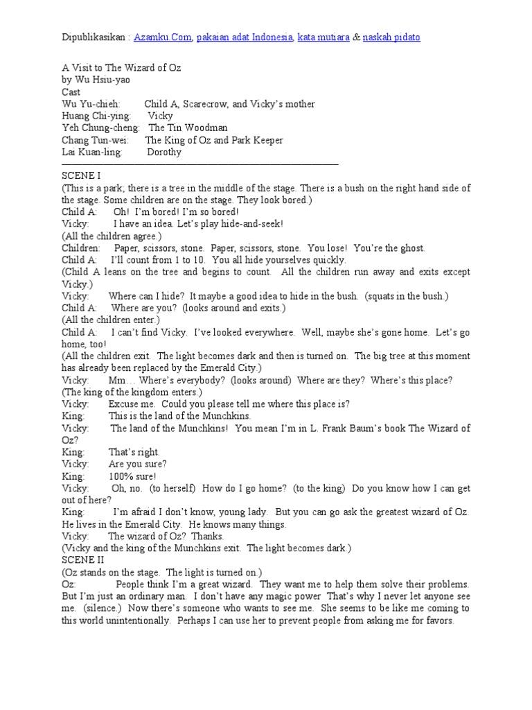 Contoh Naskah Drama Bahasa Inggris 5 Orang Pemain Dorothy Gale