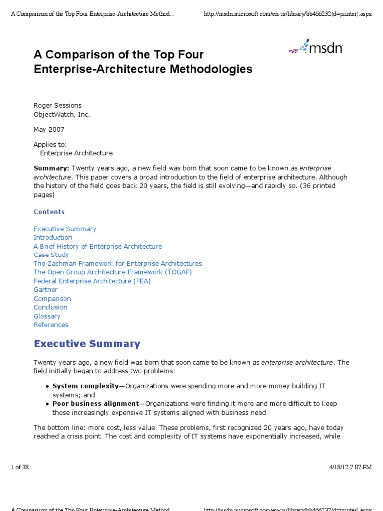 A Comparison Of The Top Four Enterprise Architecture Methodologies | Enterprise  Architecture | Design