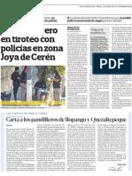 Policias Se Enfrentan a Pandilleros en Joya de Ceren, El Salvador