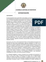 SISTEMATIZACIÓN NOVENA ASAMBLEA CANTONAL DE MONTÚFAR