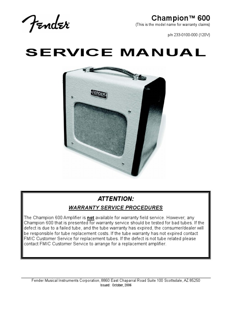 Fender Champion 600 Service Manual | Electrical Components ... on