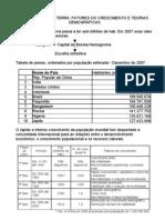 A POPULAÇÃO DA TERRA - FATORES DO CRESCIMENTO E TEORIAS DEMOGRÁFICAS