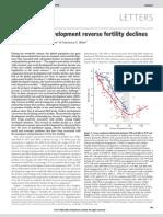Advances in development reverses fertility declines