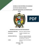 Informe de Practicas Pre Profesionales (PP-542), Antropología, UNSCH, Ayacucho, Perú