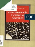 Theodor W Adorno Epistemologia y Ciencias Sociales