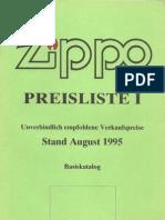 1995-1996 Zippo Basic Collection - Preisliste (GE)