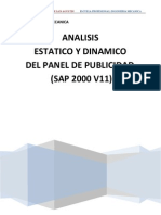 Analisis de Panel Publicitario (Sap2000 v11)
