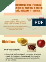 Analisis cuantitativo de la eficiencia de la produccion de alcohol a partir de Maracuya, Manzana y Corozo