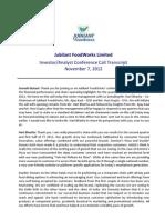 Conference Call Transcript- Jubilant Foodworks -Q2-FY13