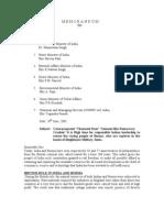 Memorandum to Government of India