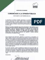 COMUNICADO A LA OPINIÓN PÚBLICA - CARNAVALES 2013
