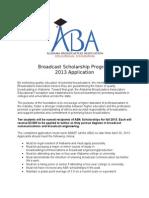 Alabama Broadcasters Association Scholarship application