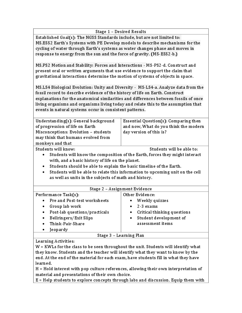 unit template | Earth | Educational Assessment