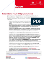 Media release - National Dance Forum 2013 program now out - 7 February 2013