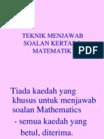 Teknk menjawab soalan mathematcs pmr