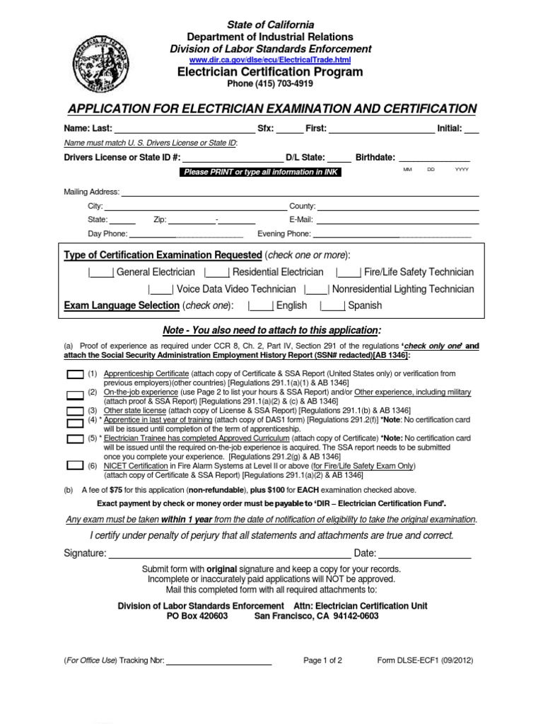 Electrical Cetification Form Electrician Apprenticeship