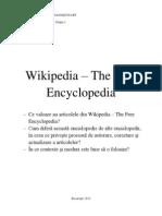 Wikipedia The Free Encyclopedia - Eseu Comunicare si Redactare