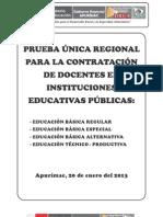 Prueba Unica Regional Contrato Docente 2013- Apurimac