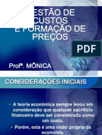 1 - Custo e Formação de preços GESTÃO DE CUSTOS