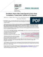 President's State of the Union Speech to Draw State Lawmakers, Conservative Activists to Parsippany!