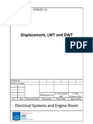 Calculation of Displacement, LWT and DWT | Tonnage | Fuel Oil