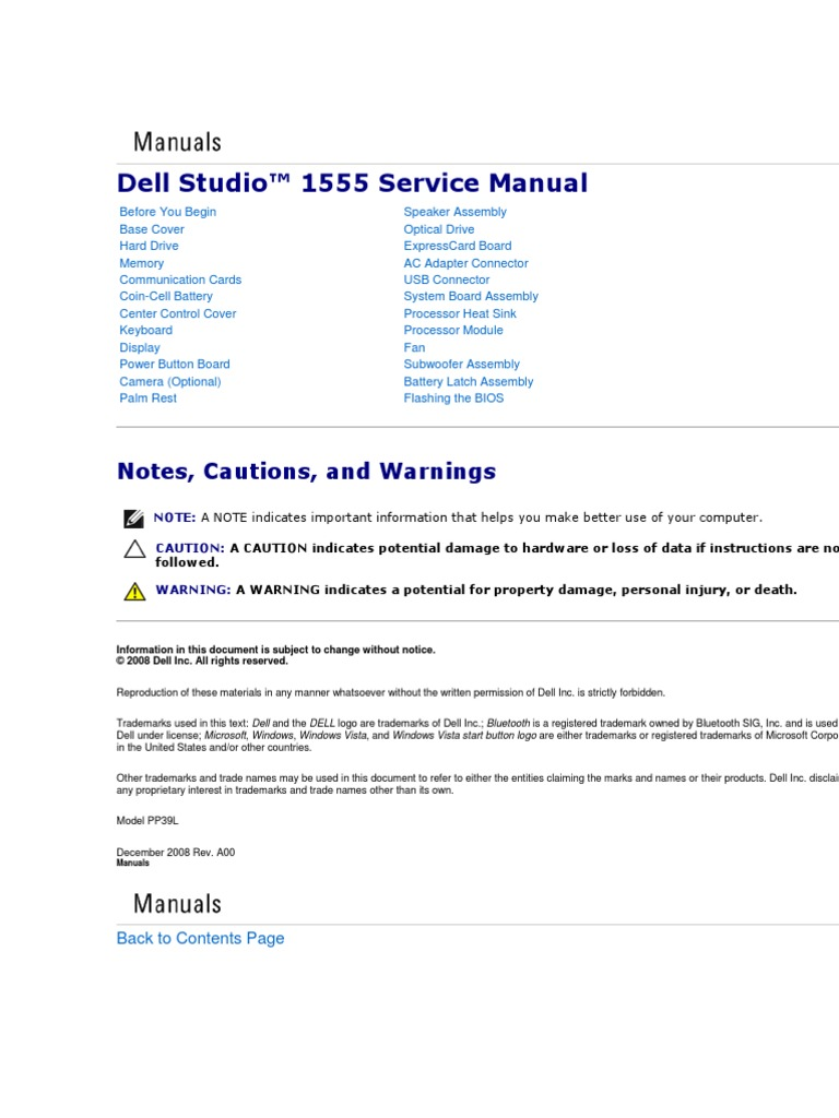 Dell studio™ 1555 service manual | subscriber identity module.