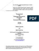 """William Lazonick & Mary O'Sullivan, """"Perspectives on Corporate Governance, Innovation, and Economic Performance"""", The European Institute of Business Administration (INSEAD), June 2000."""