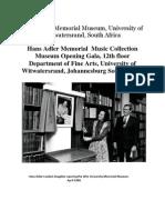 Witwatersrand University's Hans Adler Memorial Music Museum Brochure