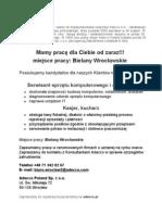 Ogłoszenie praca w Bielanach Wrocławskich