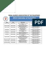 RENAP Calendar of Activities 2013 (