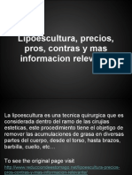 Lipoescultura, Precios, Pros, Contras y Mas Informacion Relevante