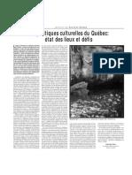 Saint-Pierre, D.(2007) « Les politiques culturelles du Québec