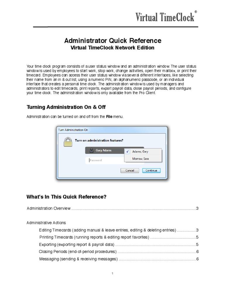 virtual timeclock network administrators quick reference pdf