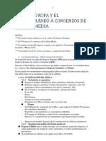 TEMA 6 EUROPA Y EL MEDITERRÁNEO A COMIENZOS DE LA EDAD MEDIA