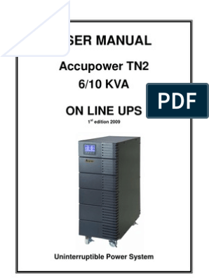 Accupower TN2 6-10kVA On-Line UPS User Manual | Battery