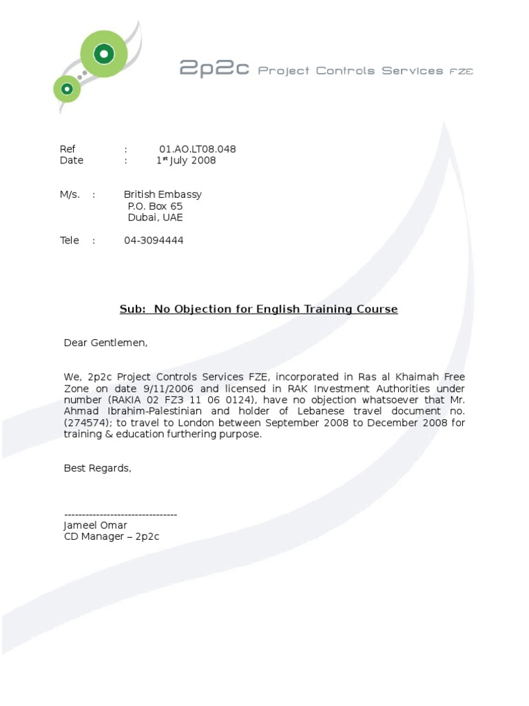 No Objection Letter Ahmad Ibrahim British Embassy – Sample of No Objection Letter from Employer