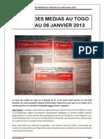 La revue des médias au Togo sur la période du 01 au 06 Janvier 2013