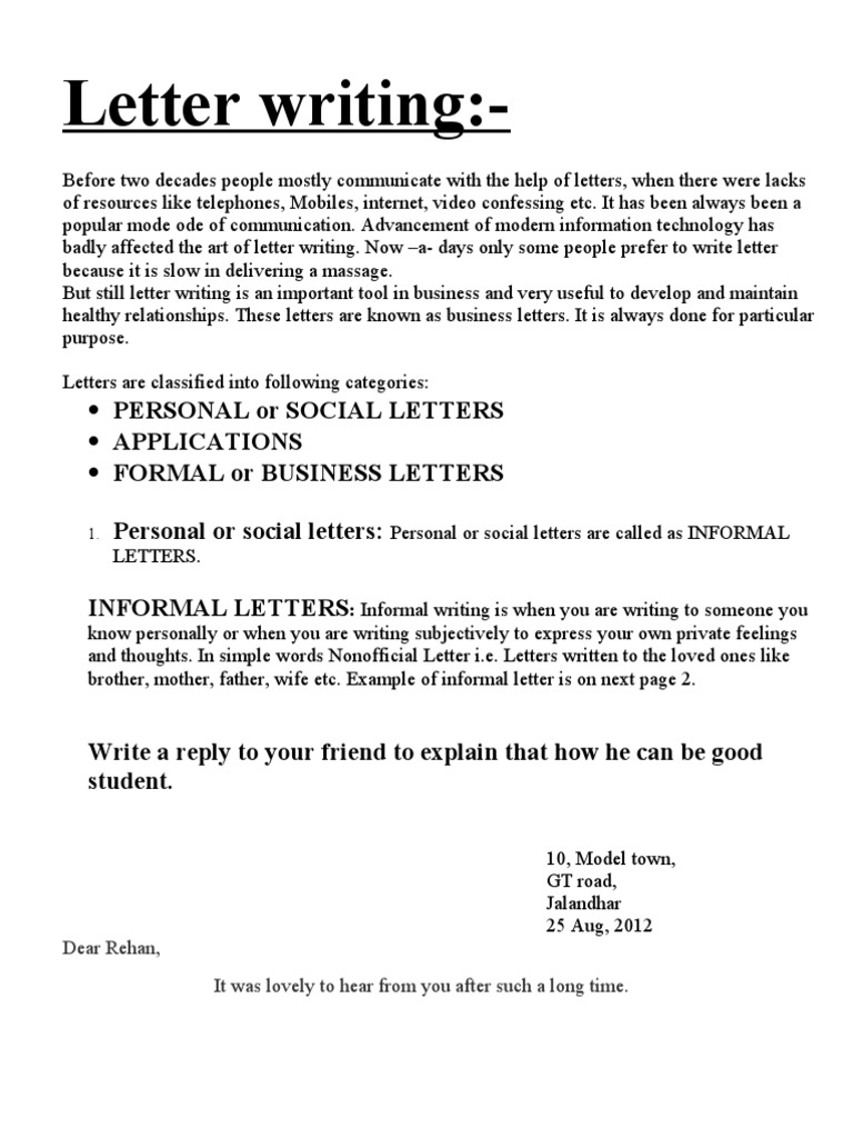 letter writing sales business