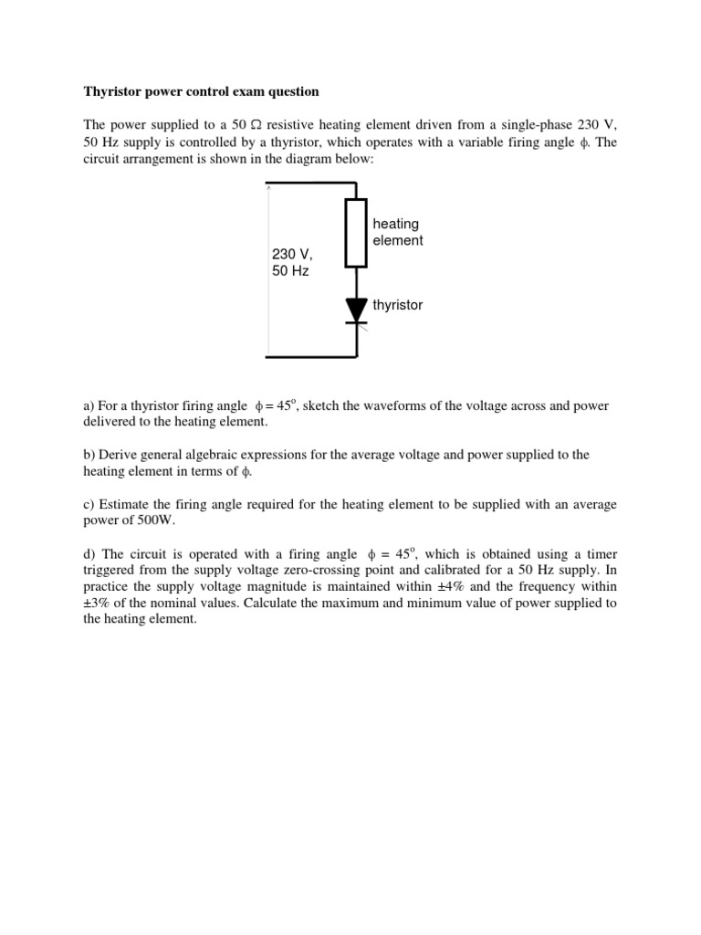 Heating Element Circuit Thyristor Control Question Voltage Angle
