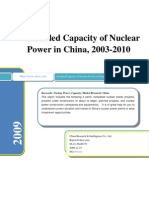 Installed Capacity of Nuclear Power in China, 2003-2010