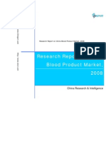 Research Report on China Blood Product Market, 2008