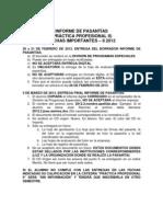 Informe de pasantías II-2012 - Fechas Importantes