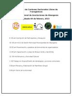 Agenda Encuentro de Cantones Declarados Libres de Transgénicos